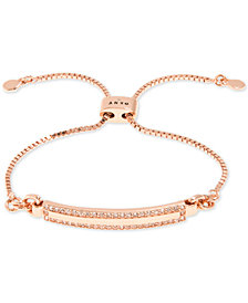 DKNY Rose Gold-Tone Pavé Bar Slider Bracelet