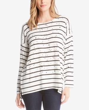 Karen Kane Sweaters STAR-PRINT STRIPED SWEATER