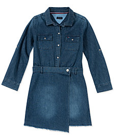 Tommy Hilfiger Big Girls Cotton Denim Wrap Dress