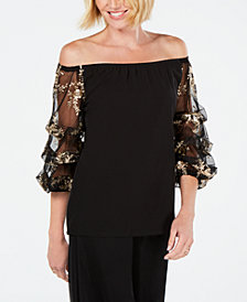 MSK Embroidered Puff-Sleeve Top