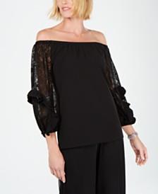 MSK Glitter-Lace-Sleeve Top