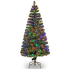 "National Tree 72"" Fiber Optic Evergreen Tree with LED Lights"