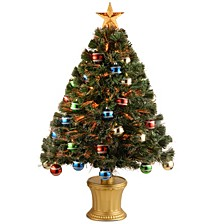 "National Tree 36"" Fiber Optic Fireworks Tree with Ball Ornaments"