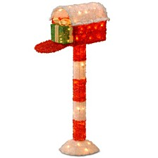 "National Tree PreLit 48"" Tinsel Mailbox with Gift"