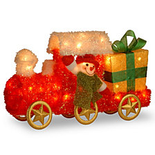 """National Tree PreLit 23"""" Tinsel Train with Gift"""