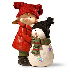 "National Tree 15"" Lighted Girl & Snowman Décor"
