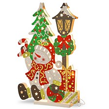 "National Tree PreLit 17.5"" Wooden Snowman Scene"