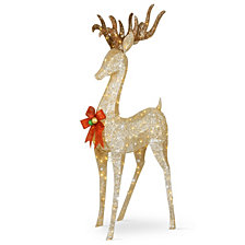 """National Tree Company 74"""" Pre-lit Crystal Champagne Standing Buck"""