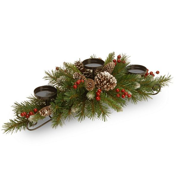 """National Tree Company 30"""" Frosted Berry Centerpiece with 3 Candle Holders"""