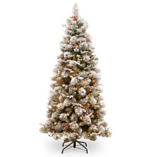 National Tree 7 .5' Snowy Bedford Pine Slim Tree with Red Berries, Cedar Leaves, Mixed Cones 500 Clear Lights