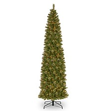 National Tree 12' Tacoma Pine Pencil Slim Tree with 750 Clear Lights