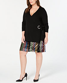 I.N.C. Plus Size Embellished Grommet Wrap Sweater, Created for Macy's