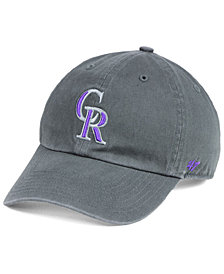 '47 Brand Boys' Colorado Rockies Charcoal CLEAN UP Strapback Cap