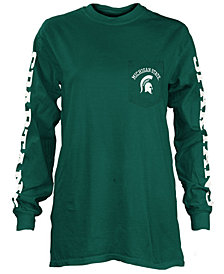 Pressbox Women's Michigan State Spartans Long Sleeve Pocket T-Shirt