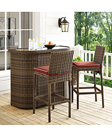 Bradenton 3 Piece Outdoor Wicker Bar Set - Bar And 2 Stools With Cushions