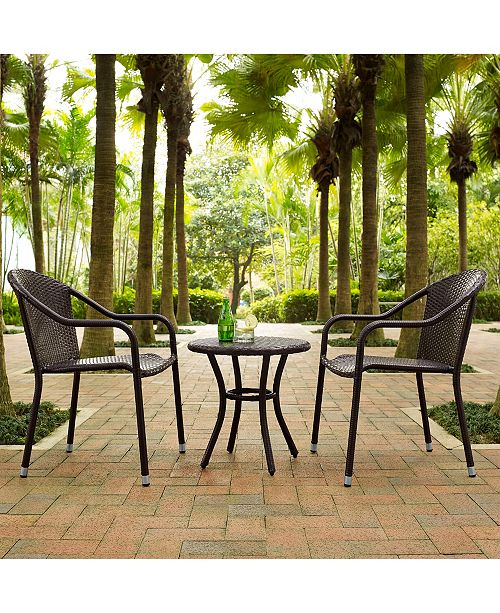 Surprising Palm Harbor 3 Piece Outdoor Wicker Cafe Seating Set 2 Stacking Chairs And Round Side Table Creativecarmelina Interior Chair Design Creativecarmelinacom
