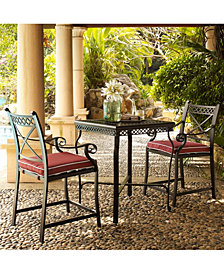 Portofino Cast Aluminum 3 Piece Bar Height Bistro Set With Sangria Cushions
