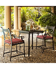 Cast Aluminum 3 Piece Bar Height Bistro Set With Sangria Cushions