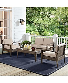 Lauderdale 4 Piece Outdoor Wicker Conversation Set In Wicker With Cushions