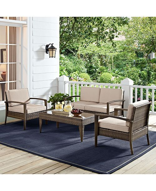 Crosley Lauderdale 4 Piece Outdoor Wicker Conversation Set In Wicker With Cushions