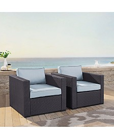 Biscayne 2 Person Outdoor Wicker Seating Set - 2 Outdoor Wicker Chairs