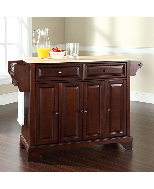 wood top for kitchen island Lafayette Natural Wood Top Kitchen Island