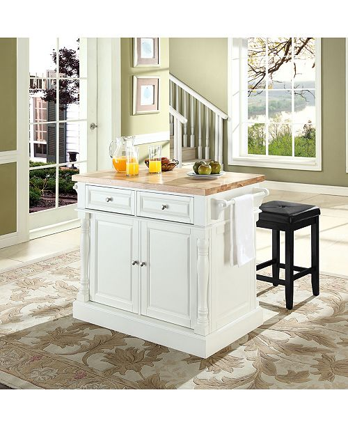 Oxford Butcher Block Top Kitchen Island With 24 Upholstered Square Seat  Stools