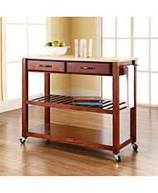 Natural Wood Top Kitchen Cart Island With Optional Stool Storage