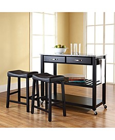 """Solid Granite Top Kitchen Cart Island With 24"""" Upholstered Saddle Stools"""