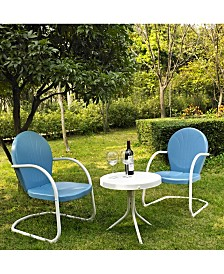 Griffith 3 Piece Metal Outdoor Conversation Seating Set - 2 Chairs With Side Table