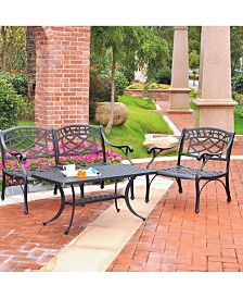 Sedona 3 Piece Cast Aluminum Outdoor Conversation Seating Set - Loveseat, Club Chair And Cocktail Table