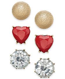 "Thalia Sodi Small Gold-Tone 3-Pc. Set Crystal & Stone Heart Stud Earrings, .5"", Created for Macy's"