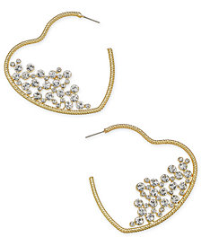 Thalia Sodi Gold-Tone Pavé Heart Hoop Earrings, Created for Macy's