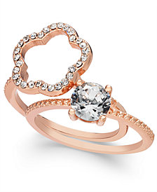 Charter Club Rose Gold-Tone 2-Pc. Set Crystal Ring, Created for Macy's