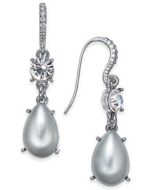 """Charter Club Small Silver-Tone Crystal & Imitation Pearl Drop Earrings, 1"""", Created for Macy's"""