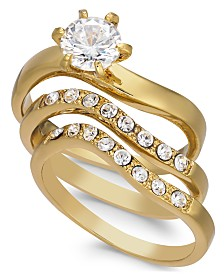 Charter Club Gold-Tone 3-Pc. Set Crystal Wavy Rings, Created for Macy's