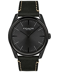 Men's Preston Black Leather Strap Watch 41mm