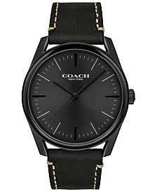 COACH Men's Preston Black Leather Strap Watch 41mm