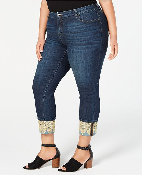 Style & Co Plus Size Lace-Cuffed Boyfriend Jeans, Created for Macy's