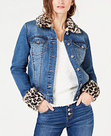 I.N.C. Leopard-Print Faux-Fur Trim Denim Jacket, Created for Macy's