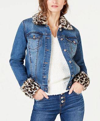 Inc International Concepts I N C Leopard Print Faux Fur Trim Denim