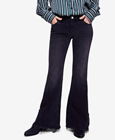 Free People Cotton Vintage-Inspired Frayed Flared Jeans