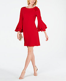 MSK Tiered Bell-Sleeve Floral-Appliqué Shift Dress