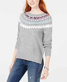 American Rag Juniors' Printed Sweater, Created for Macy's