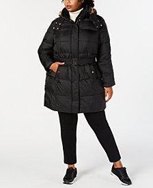 Calvin Klein Plus Size Faux-Fur-Lined-Hood Puffer Coat
