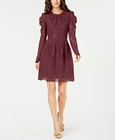 MICHAEL Michael Kors Puff-Sleeve Floral Lace Dress