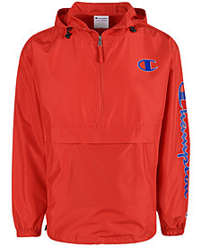 Champion Men's Logo Quarter-Zip Packable Hooded Windbreaker
