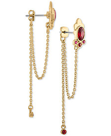 RACHEL Rachel Roy Gold-Tone Crystal & Chain Front-and-Back Earrings