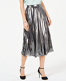 MICHAEL Michael Kors Foil-Coated Pleated Skirt