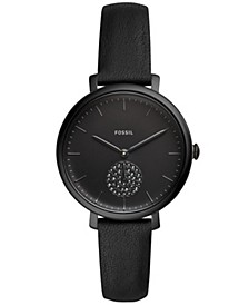 Women's Jacqueline Black Leather Strap Watch 35mm